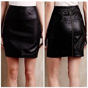 Anthropologie Mo Vint Downtown Vegan Leather Skirt